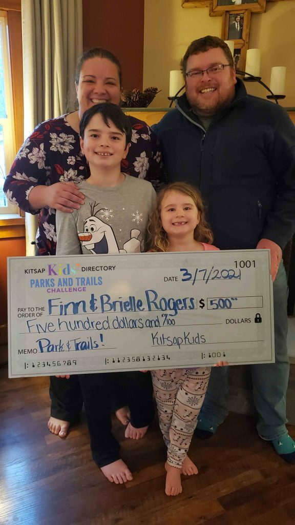 The Roger's kids are 1 of 3 winners  for the Parks & Trails Challenge last year!