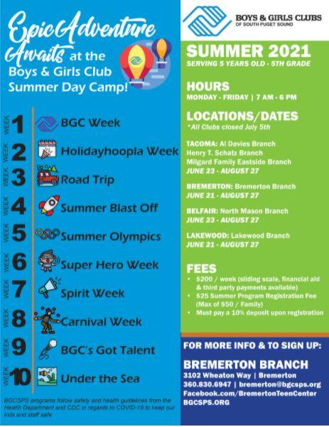 Boys And Girls Club Bremerton Summer 2021