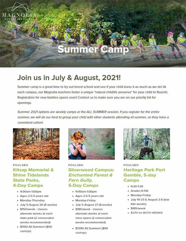 Magnolia Outdoor Preschool Summer 2021