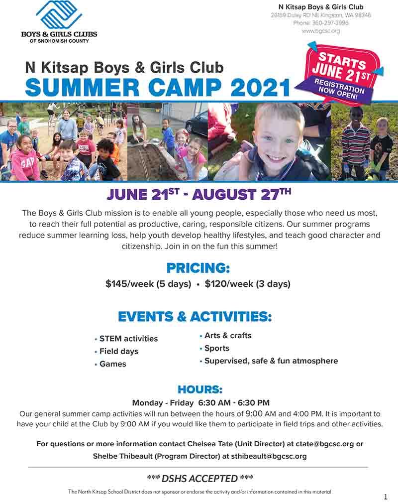 North Kitsap Boys And Girls Club Summer Camp 2021