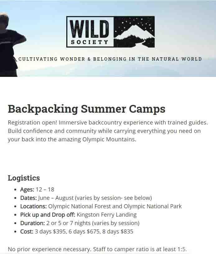 Wild Society Backpacking Camp Sumer 2021